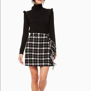 NWT Kate Spade Plaid Fringe Skirt 8